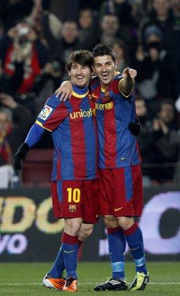 Messi y Villa