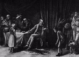 Charles Dickens con sus personajes
