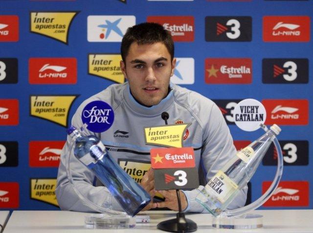 Víctor Ruiz, en rueda de prensa con el RCD Espanyol