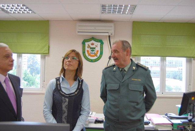 El subdelegado del Gobierno en Málaga, Hilario López Luna; la delegada provincia
