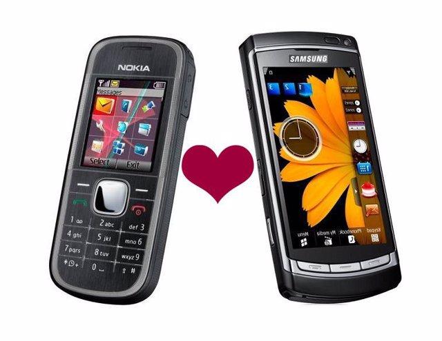 Fotomontaje con teléfonos móviles