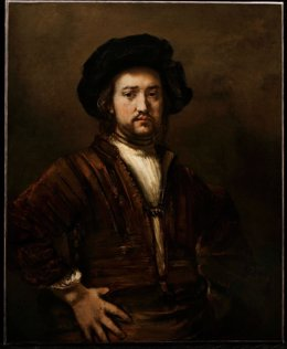 Portrait of a man with arms akimbo de Rembrand