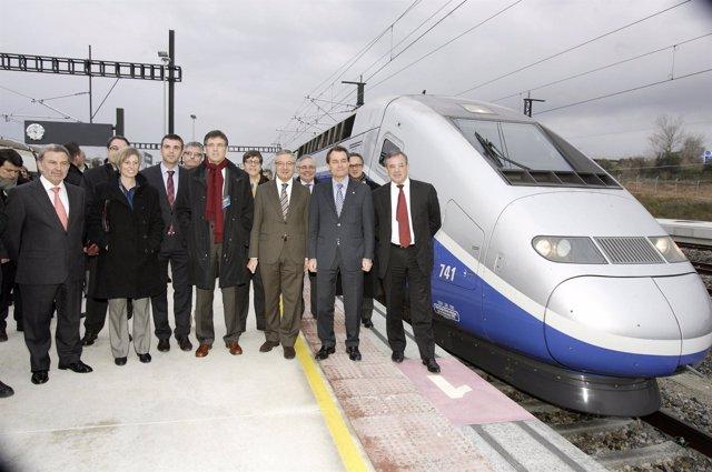 Blanco con el secretario de Transportes Francés en la inauguración del AVE Figue