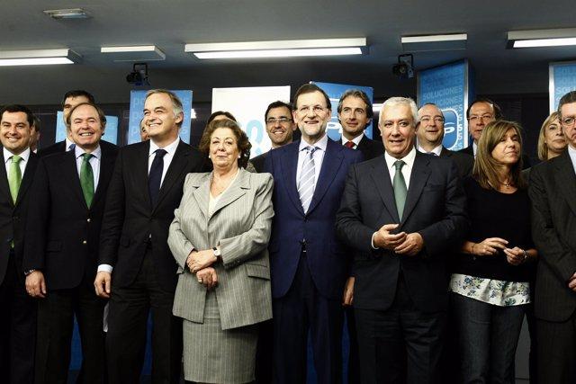 Rajoy con alcaldes del PP