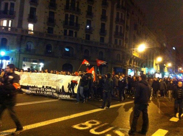 Manifestación sindical en Barcelona