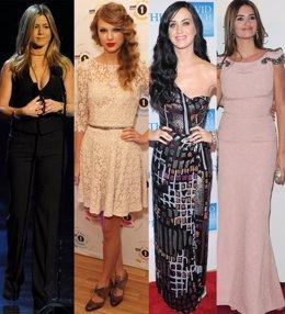 Montaje de Jennifer Aniston, Taylor Swift, Katy Perry y Penélope Cruz