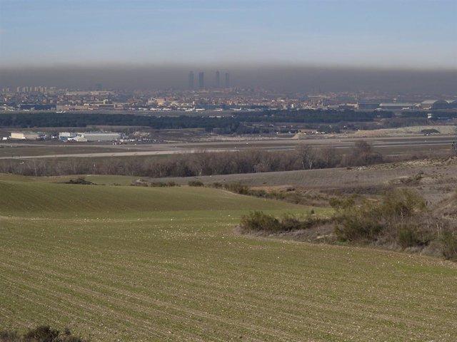 Boina de contaminación sobre la ciudad de Madrid