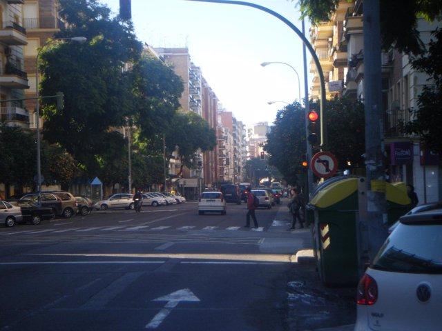 Calle, paso de cebra, contenedores