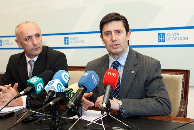 O conselleiro do Medio Rural, Samuel Júarez, xunto co director xeral de Produció