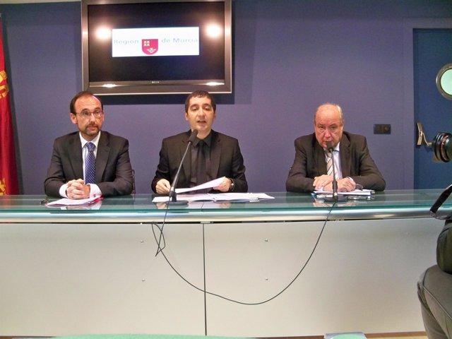 Salvador Marín, Pedro Alberto Cruz y Jesús Samper, en la rueda de prensa