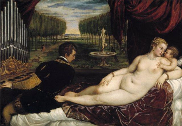 Venus recreándose con el Amor y la Música. Tiziano. Hacia 1555