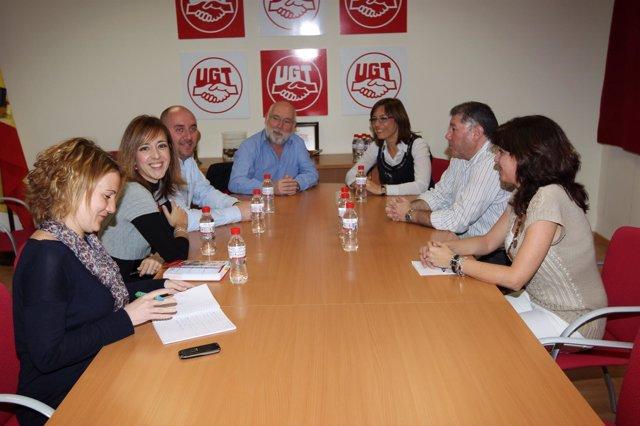 Reunión de la candidata socialista a la Alcaldía de Málaga, María Gámez, con UGT