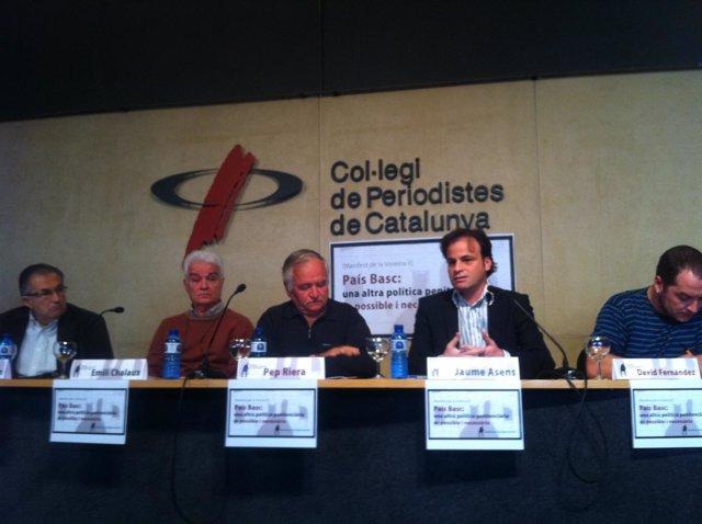 Jaume Asesns,  Emilio Chalaux, Pep Riera y David Fernández en la lectura del Man