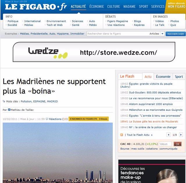 Le Figaro recoge la polémica sobre la contaminación en Madrid