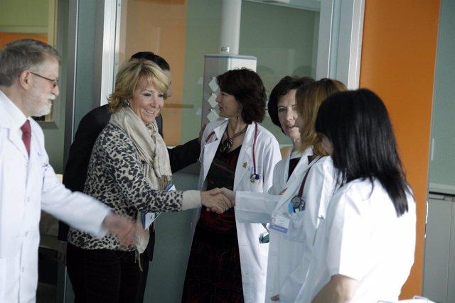 Esperanza Aguirre, en la inauguración de las nuevas urgencias del Hospital de El