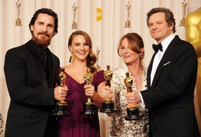 Christian Bale, Natalie Portman, Melissa Leo y Colin Firth, los cuatro intérpret
