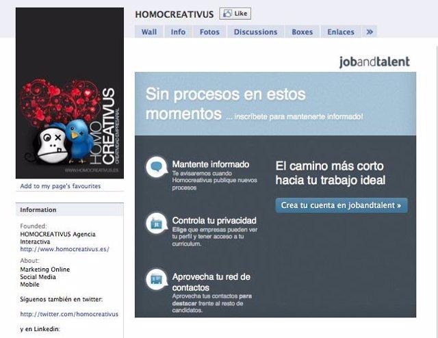 Plataforma 'JobanTalent' integrada en Facebook.