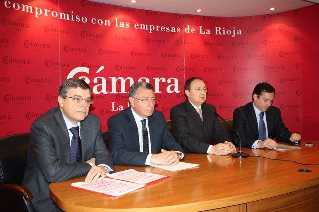 Florencio Nicolás, Tomás Santos, José María Ruiz Alejos y Javier Erro durante el