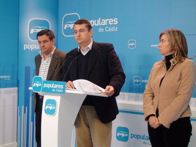El secretario general del PP-A, Antonio Sanz, en rueda de prensa en Cádiz