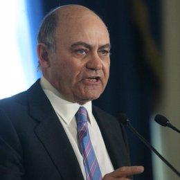 El presidente de la patronal (CEOE), Gerardo Díaz Ferrán en un desayuno informat