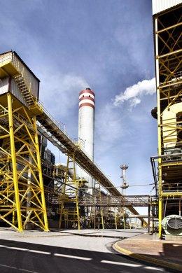 Vista parcial de las calderas de la planta de Ence en Huelva
