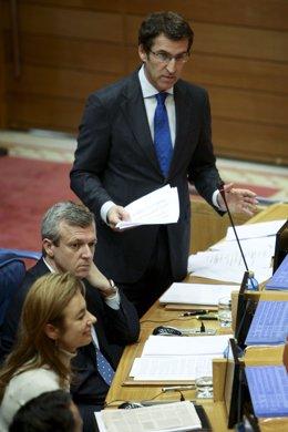 alberto nunea feijoo responde as preguntas dos grupos no parlamento de galiciafo