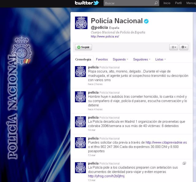 Perfil Policía Nacional '@policia'