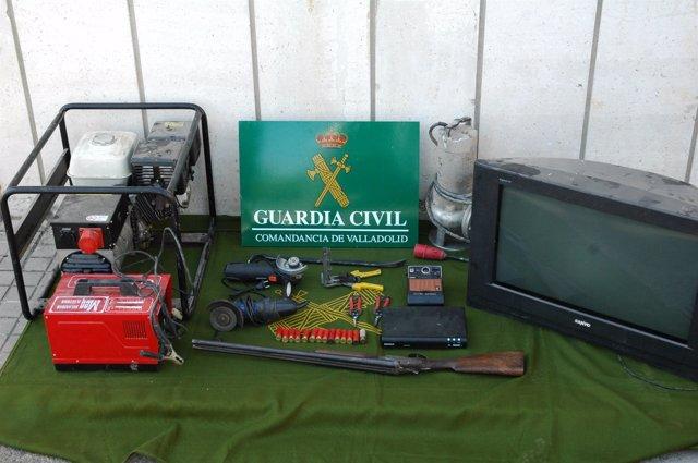 Material incautado a los detenidos y procedente de robos en Tordesillas
