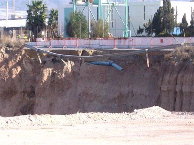 Infraestructura denunciada por el Grupo Cóndor en Almerimar, en Almería
