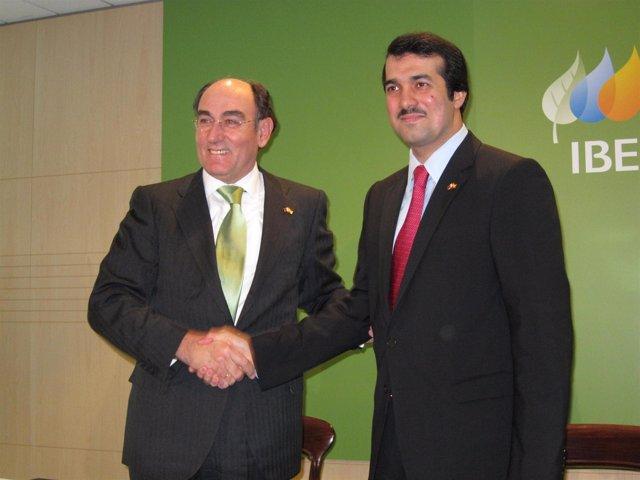 El presidente de Iberdrola, Ignacio Galán, con el CEO de Qatar Holding, Ahnad Al