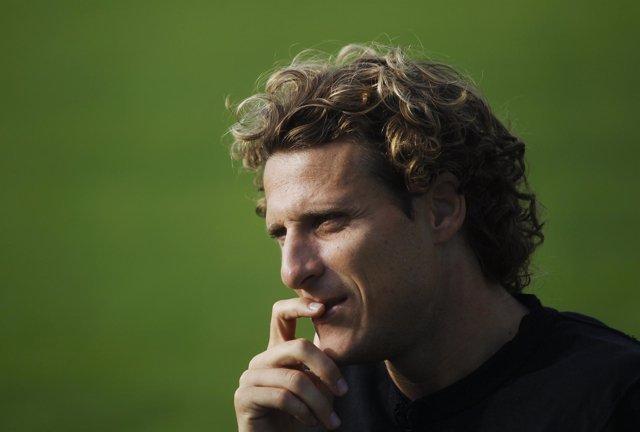 El jugador del Atlético de Madrid Diego Forlán