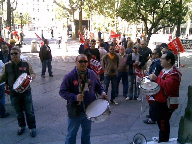 Protesta de los trabajadores de Mercasevilla.