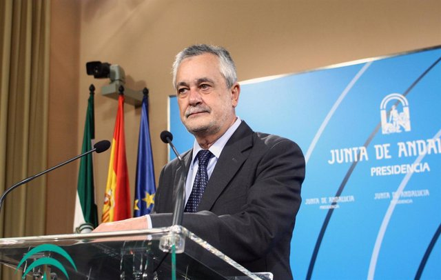 José Antonio Griñán, este miércoles en comparecencia ante los medios