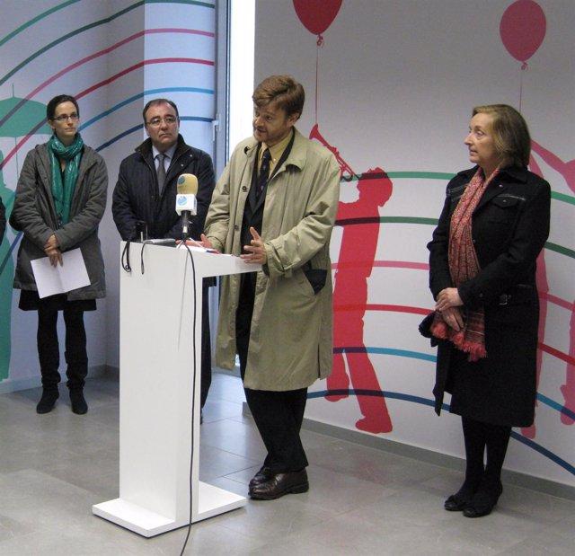 Madoz, Andía, Peralta y la consejera Kutz, durante la presentación del Centro de