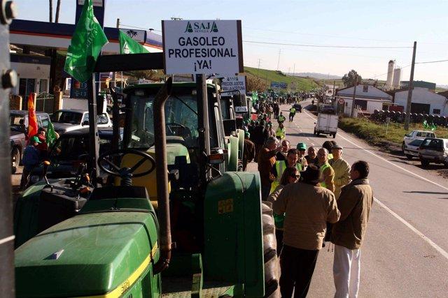 Manifestación de Asaja-A en Huévar del Aljarafe.