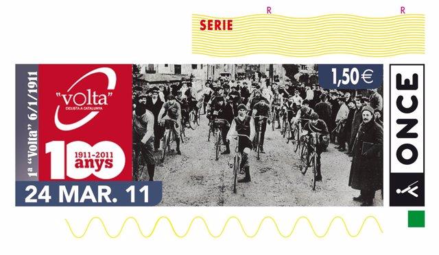 Cupón de la ONCE del centenario de la Volta Ciclista a Catalunya