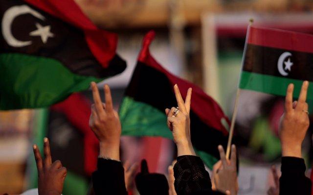Manifestación contra Gadafi en Libia
