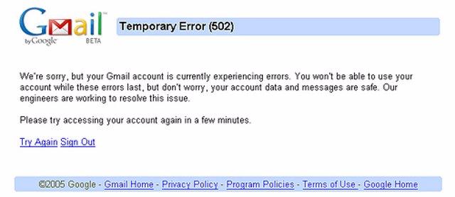 página de error en Gmail adria.richards CC Flickr