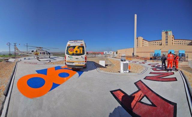 Helipuerto del hospital de Osuna recientemente inaugurado
