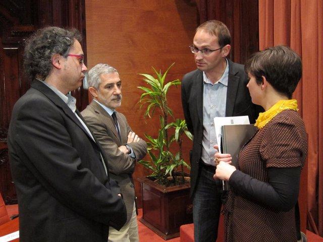 LLamazares, Herrera, Ortiz y Miralles en el Parlament