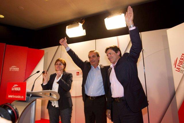Pilar Varela, José Antonio Alonso y Javier Fernández en Avilés.