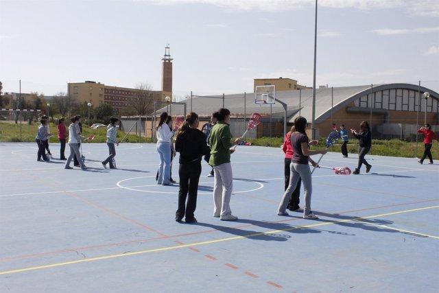 Escolares haciendo deporte en la UPO