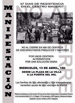 Cartel de la manifestación por el cierre de centros ocupacionales en Madrid