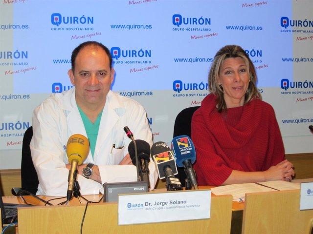 Médico Jorge Solano Y Gerente De Quirón Zaragoza, Cristina Guarga