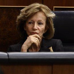 Elena Salgado, Pensativa En Su Escaño En El Congreso