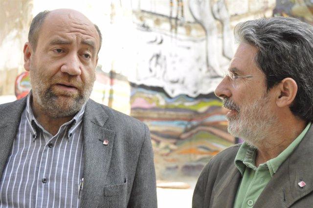 Los Candidatos De IU Adolfo Barrena Y José Manuel Alonso.