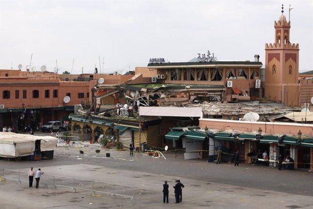 Restaurante 'Argana' En Marrakech Tras La Explosión De Una Bomba