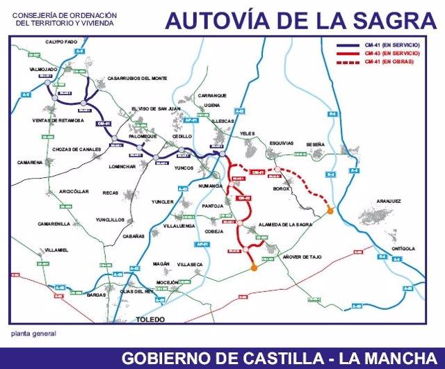 Mapa De La Autovía De La Sagra