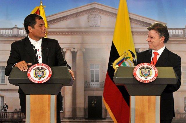 El Presidente De Ecuador, Rafael Correa, Y El De Colombia, Juan Manuel Santos.