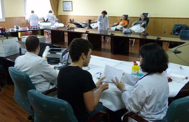 Donación sangre en la Universidad.